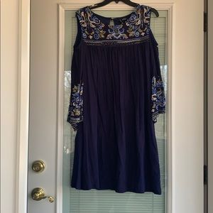 2 FOR $30! Embroidered cold shoulder dress